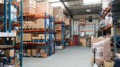 Freight warehouse with full racks