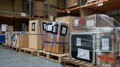 Paletted goods in event logistics warehouse