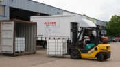 Forklift loading into sea container